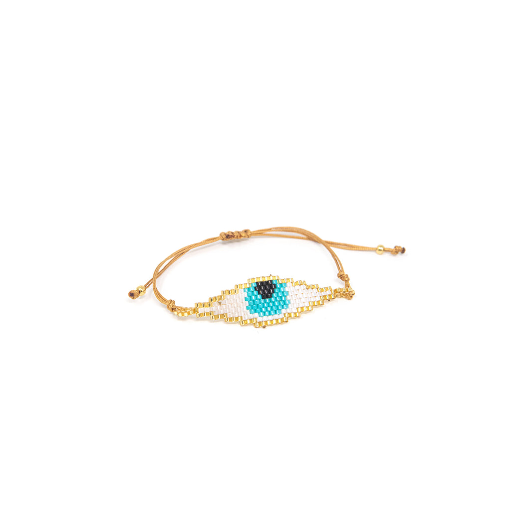 Beaded Evil Eye Adjustable Cord Bracelet JEWELRY The Sis Kiss Turquoise Eye on White Background