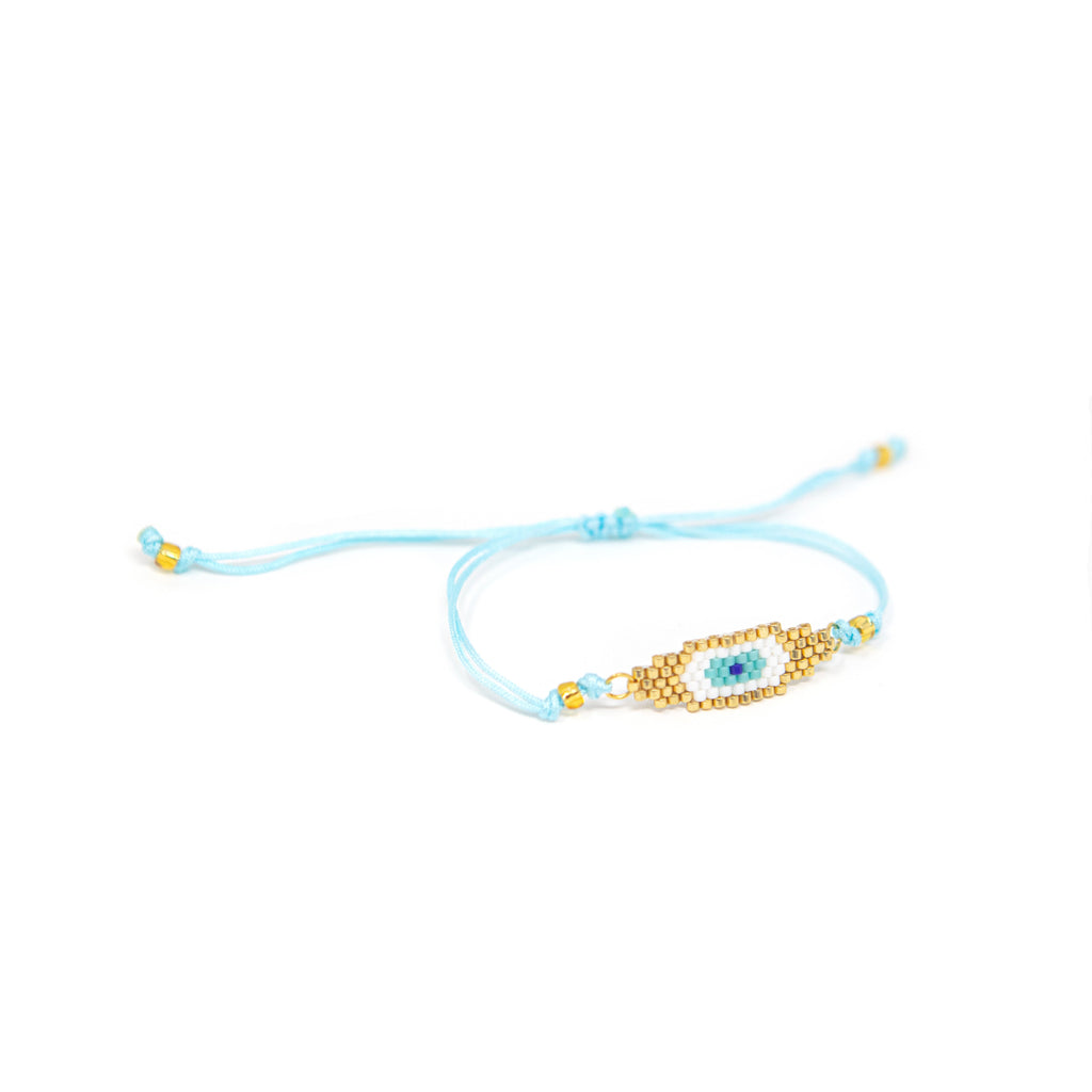 Turquoise and Gold Evil Eye Beaded Adjustable Bracelet JEWELRY The Sis Kiss