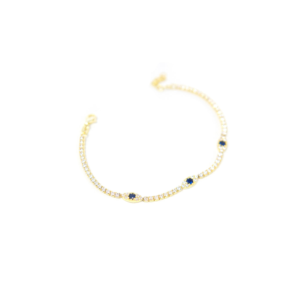 Crystal and Navy Evil Eye Tennis Bracelet JEWELRY The Sis Kiss