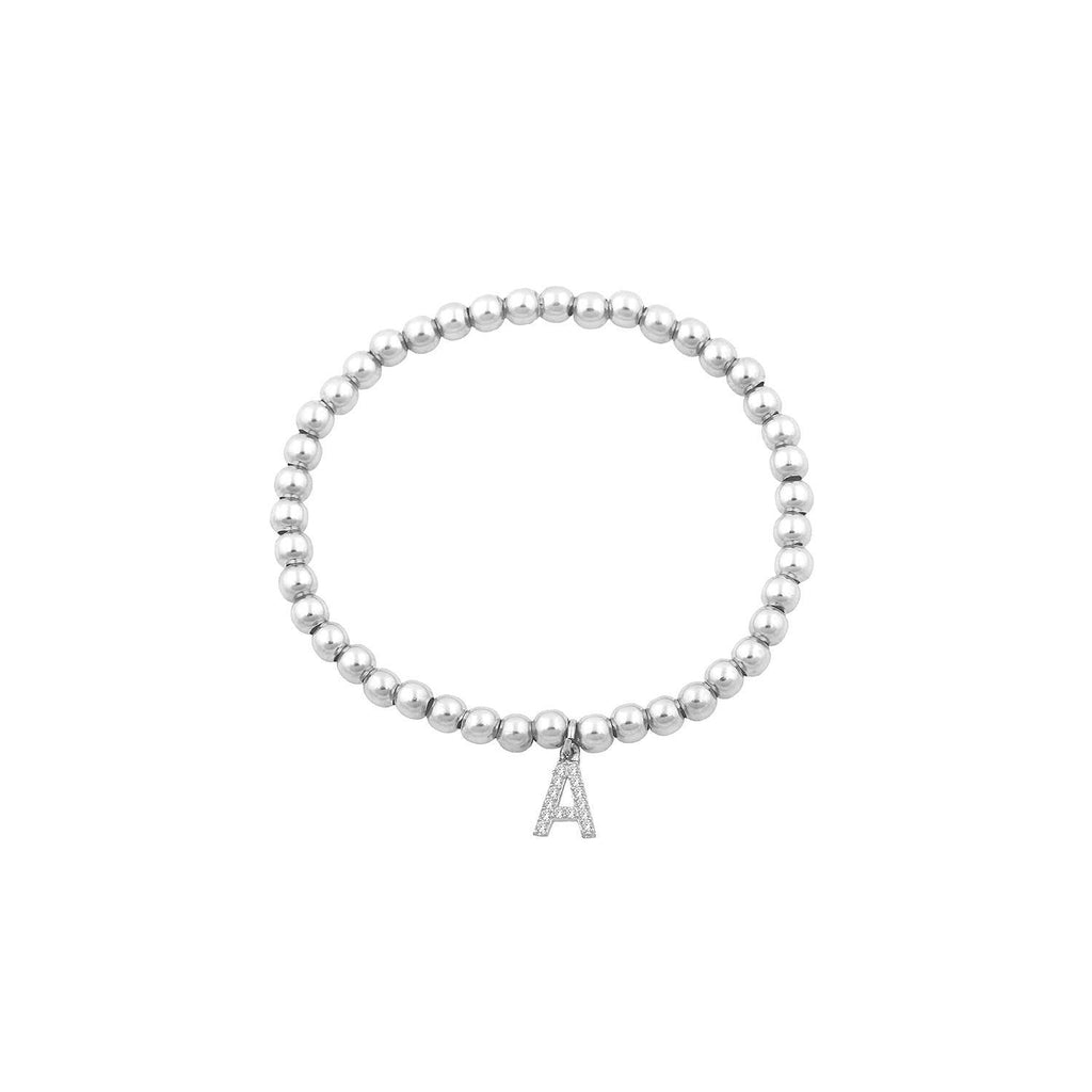 Classic Beaded Initial Bracelet JEWELRY The Sis Kiss Silver A