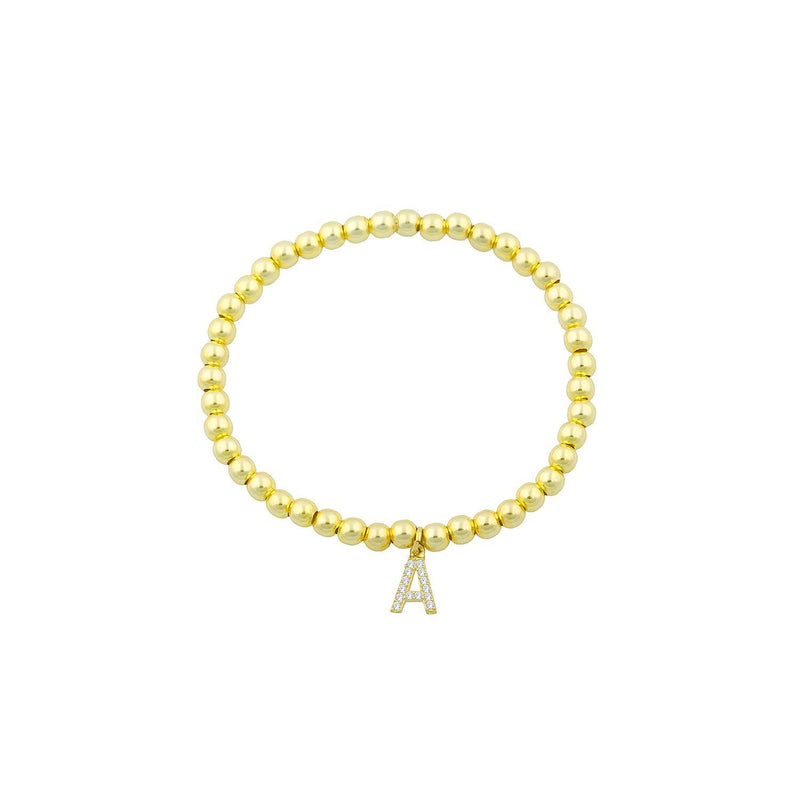 Classic Beaded Initial Bracelet JEWELRY The Sis Kiss Gold A