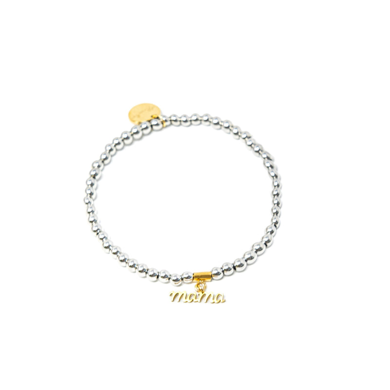 Silver Beaded Word Bracelets JEWELRY The Sis Kiss Mama
