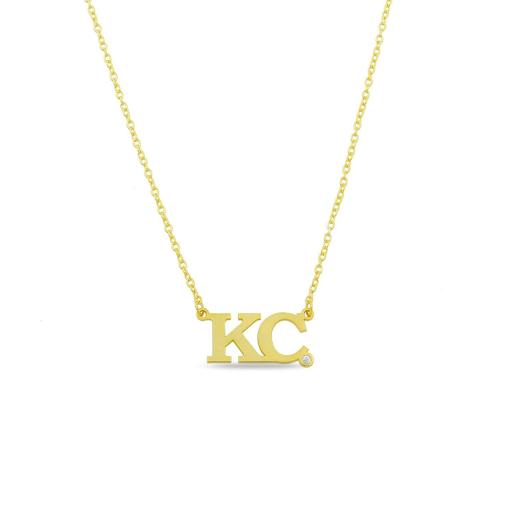 Custom Block Initial Necklace with Crystal necklace The Sis Kiss Gold