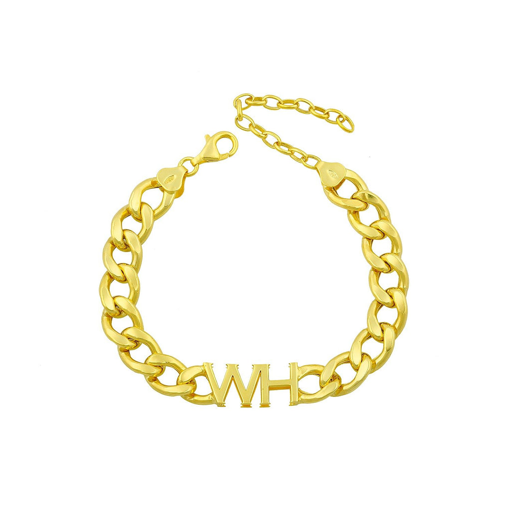 Custom Chain Link Initial Bracelet JEWELRY The Sis Kiss Gold One Initial