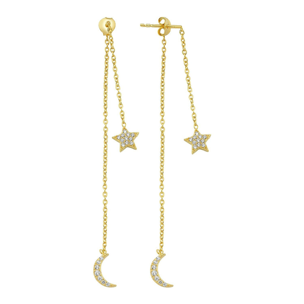 Moon and Star Dangle Stud Earrings JEWELRY The Sis Kiss