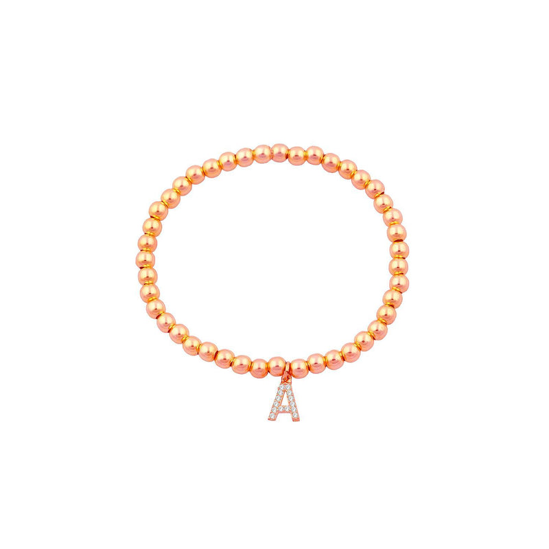 Classic Beaded Initial Bracelet JEWELRY The Sis Kiss Rose Gold A