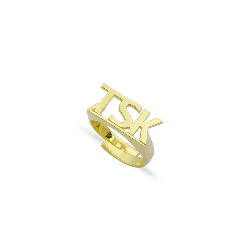 Custom Bold Initials Ring JEWELRY The Sis Kiss Gold
