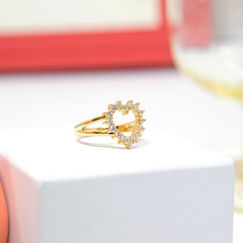Adjustable Rhinestone Heart Ring
