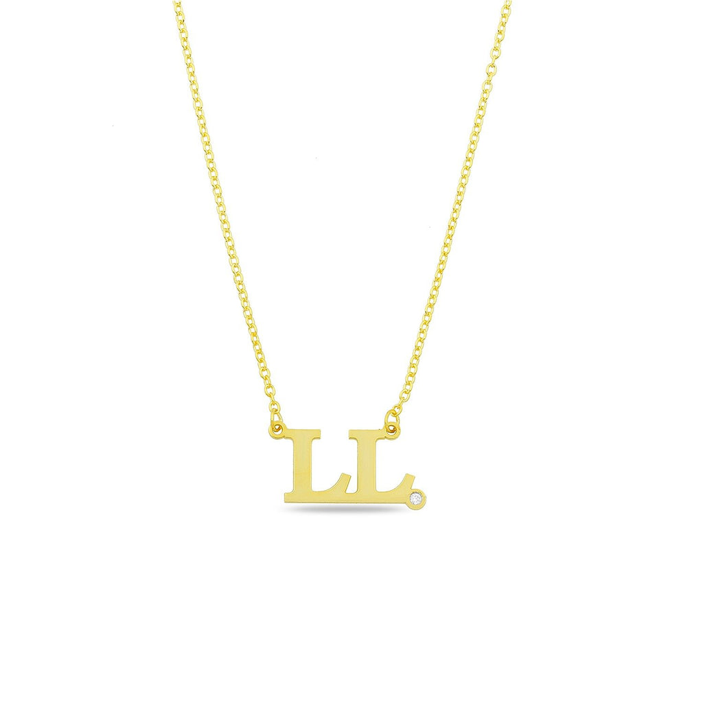 Custom Block Initial Necklace with Crystal necklace The Sis Kiss