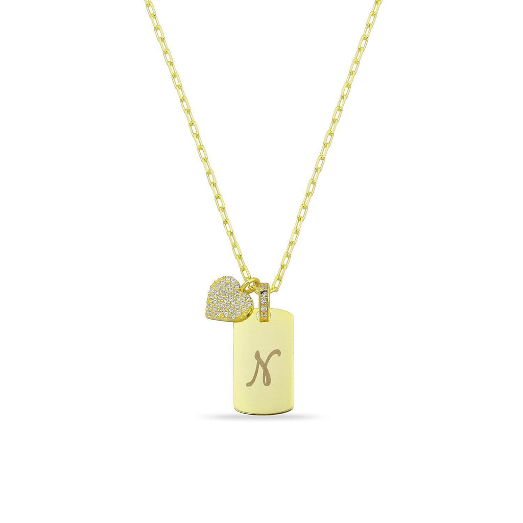 Custom Initial Tag Necklace with Heart Charm JEWELRY The Sis Kiss