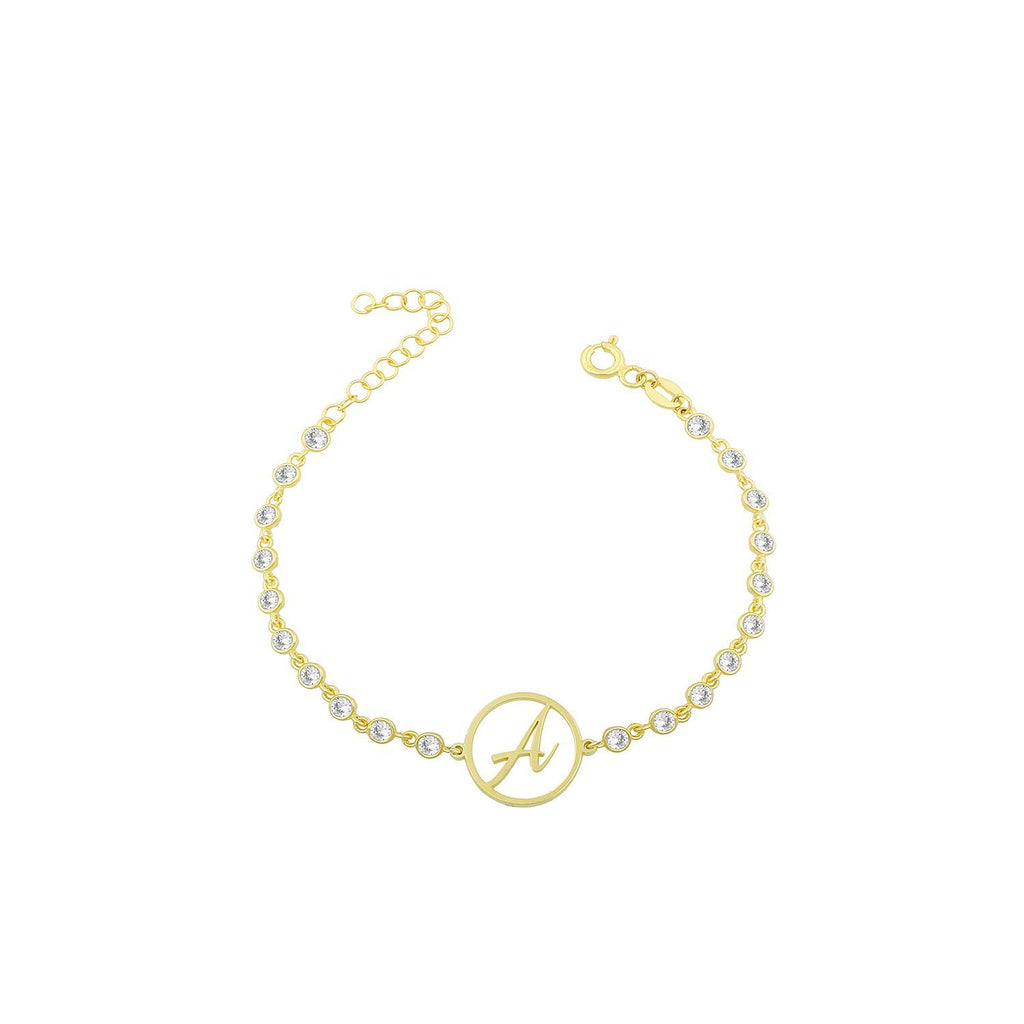 Script Initial Crystal Bracelet JEWELRY The Sis Kiss A Gold
