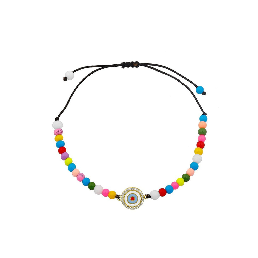 Rainbow Beads Evil Eye Adjustable Bracelet JEWELRY The Sis Kiss