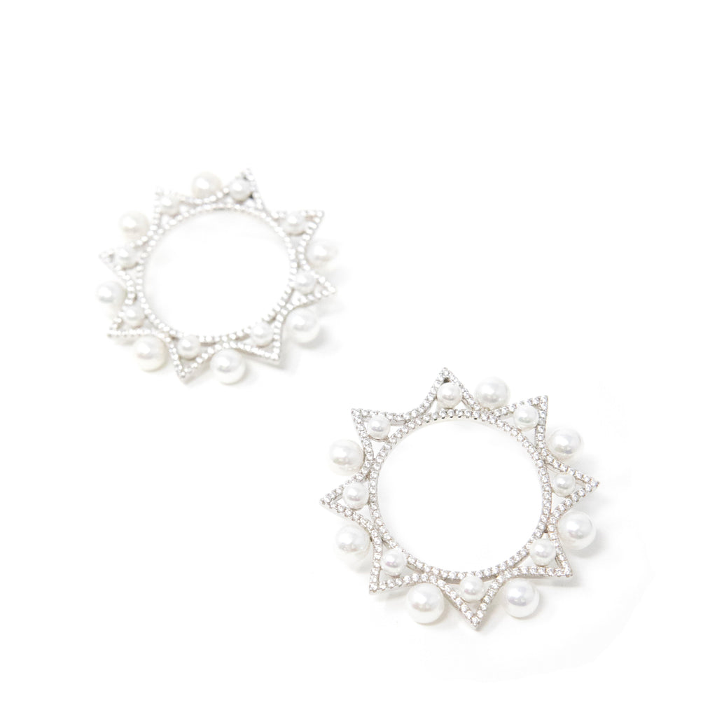 Pearl and Crystal Wreath Earrings