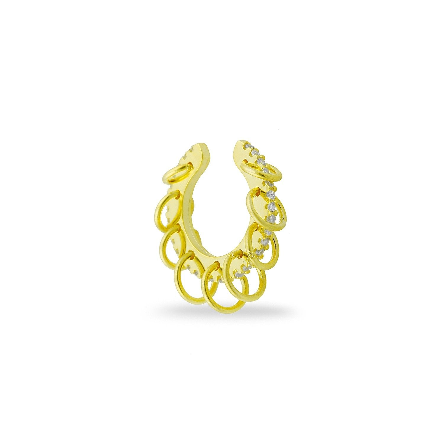Crystal and Gold Loop Ear Cuff and Earrings - PREORDER