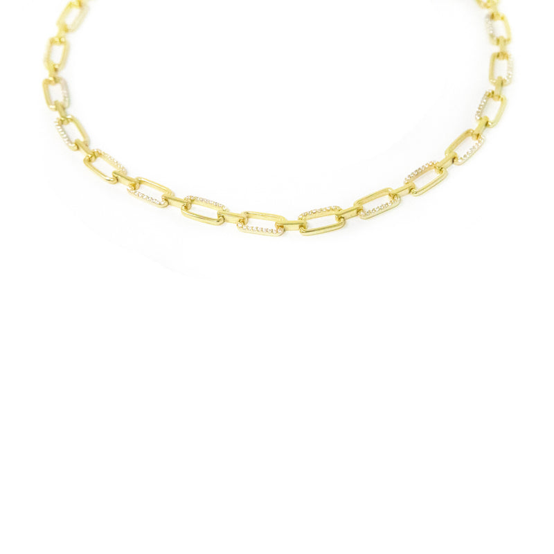 Gold and Crystal Chain Link Choker