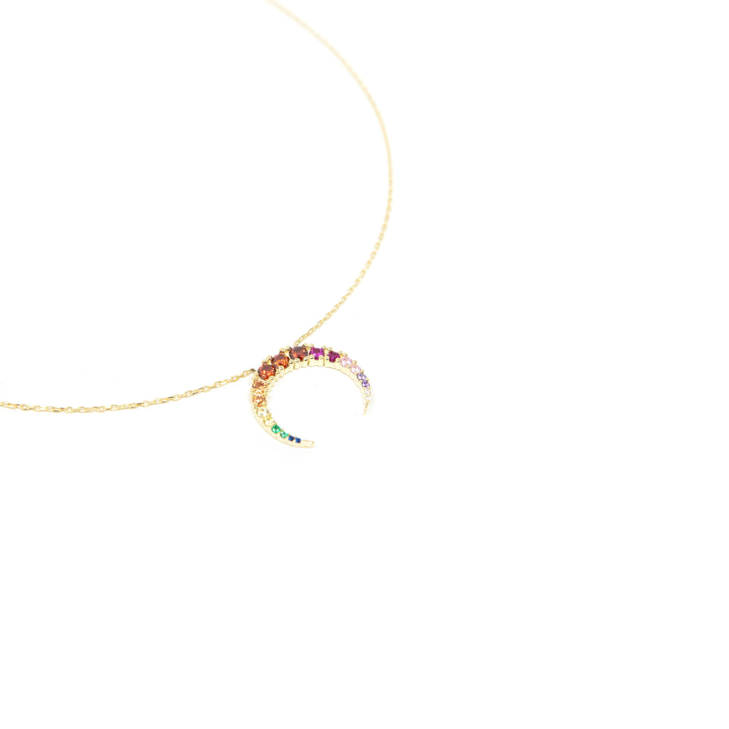 Rainbow Pave Horn Necklace JEWELRY The Sis Kiss