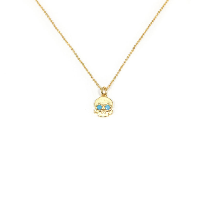 Gold and Turquoise Sugar Skull Necklace JEWELRY The Sis Kiss