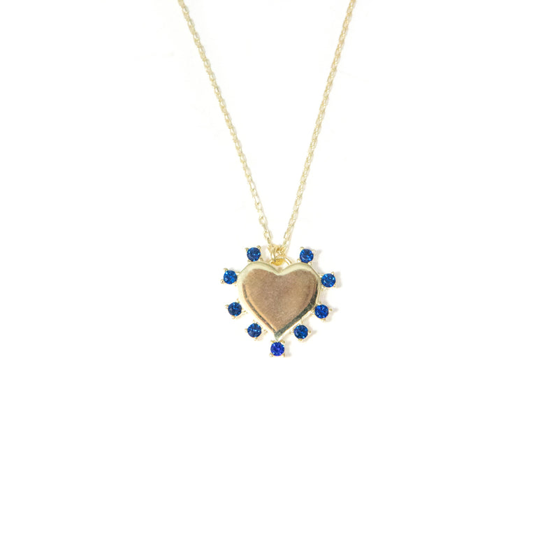 Navy and Gold Heart Pendant JEWELRY The Sis Kiss