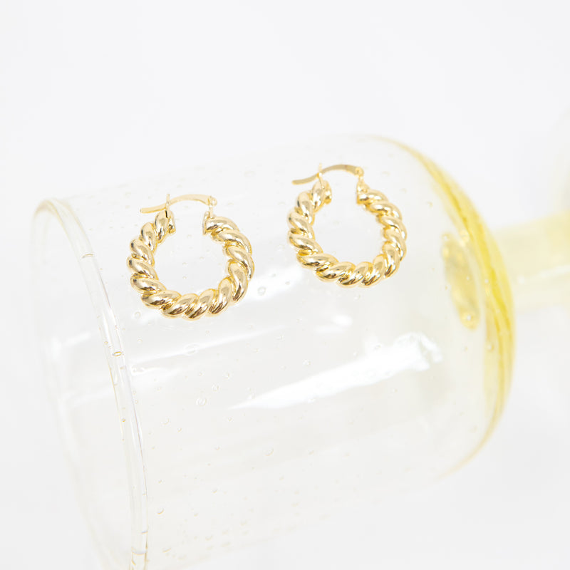 Double Twist Gold Huggie Earrings JEWELRY The Sis Kiss