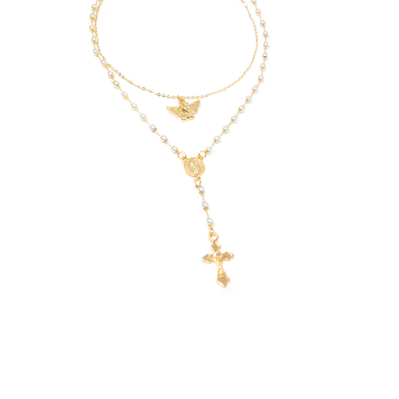 Angel and Pearl Rosary Lariat JEWELRY The Sis Kiss