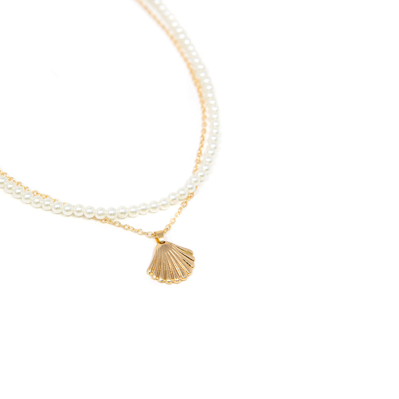 Gold Shell and Pearl Necklace Set