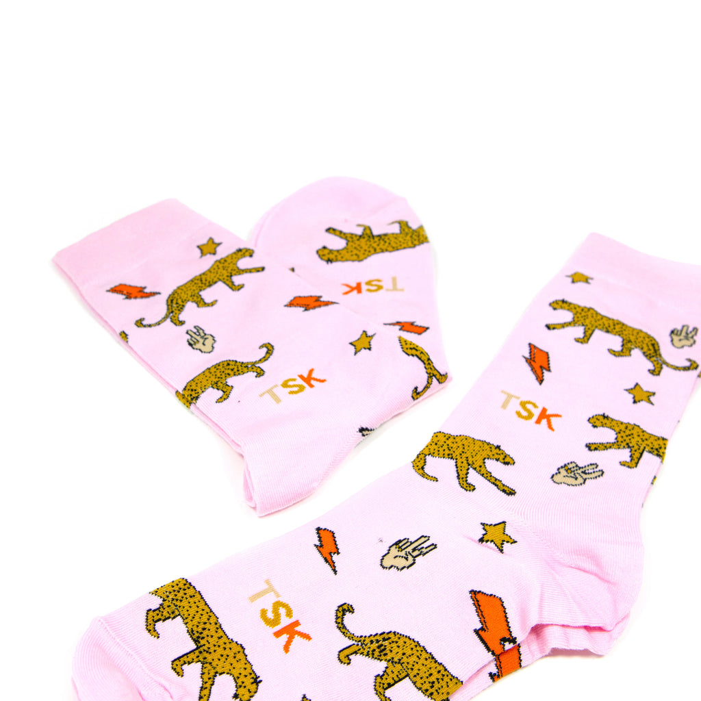 TSK Socks ACCESSORY The Sis Kiss Louis Leopard Pink Print