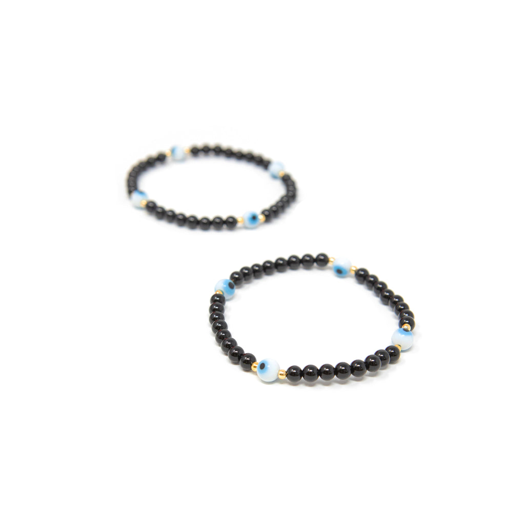 Evil Eye Black Beaded Bracelet JEWELRY The Sis Kiss
