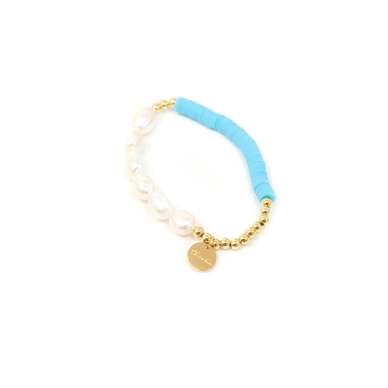 Pearl and Clay Disk Bracelets JEWELRY The Sis Kiss Blue