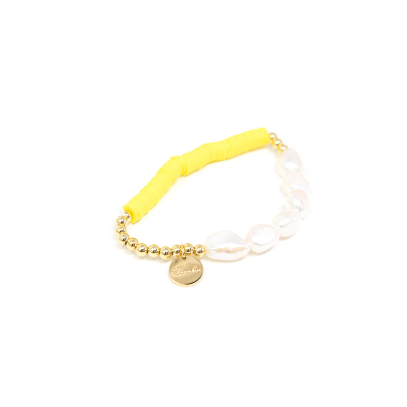Pearl and Clay Disk Bracelets JEWELRY The Sis Kiss Yellow