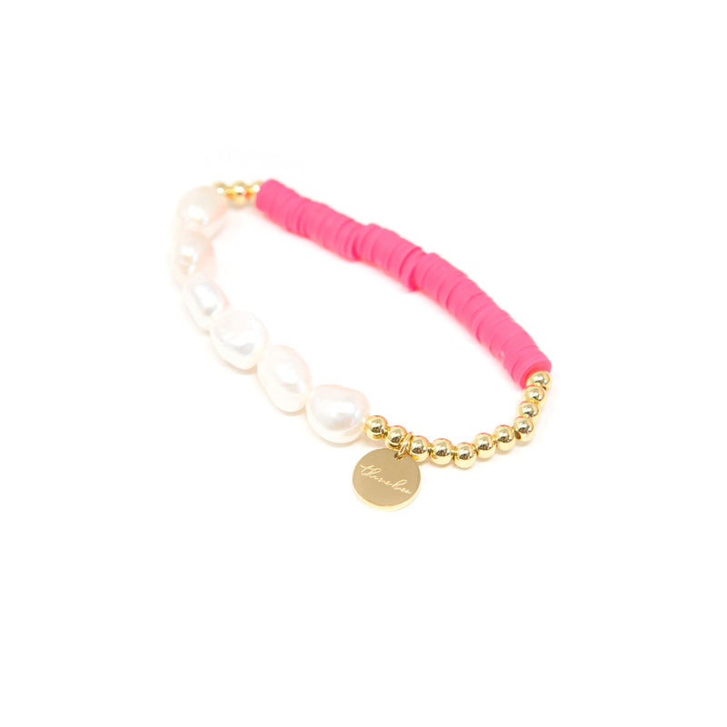 Pearl and Clay Disk Bracelets JEWELRY The Sis Kiss Pink