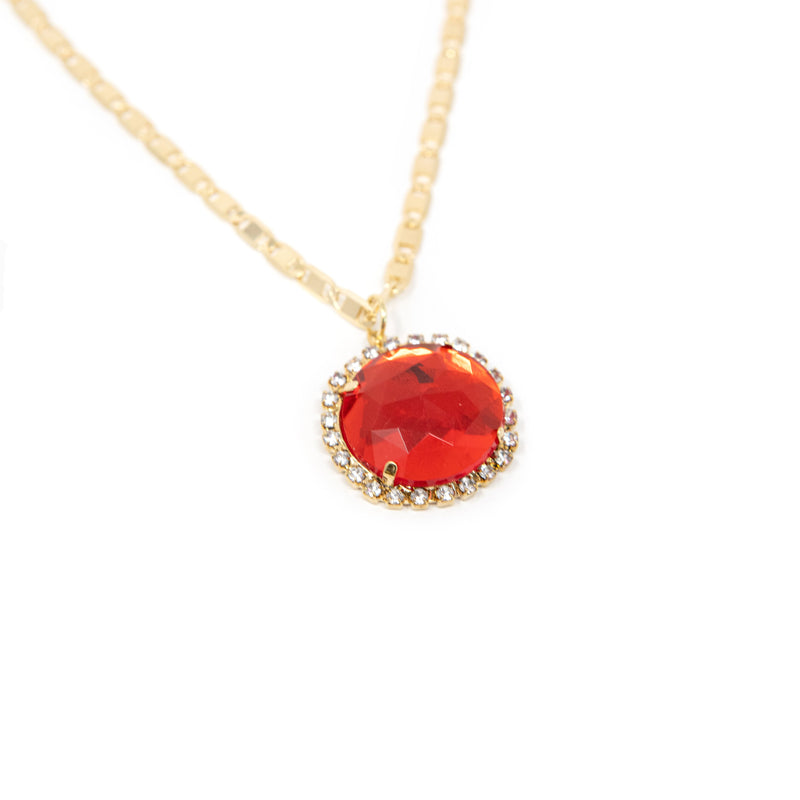 Bright Gem Round Pendant Necklaces JEWELRY The Sis Kiss Ruby Round