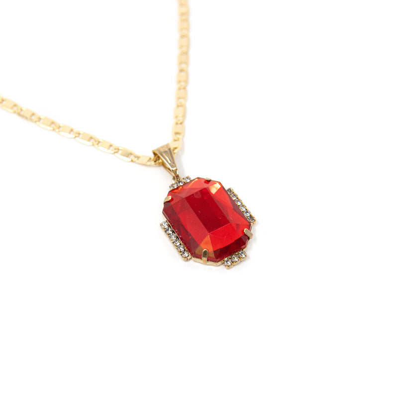 Bright Gem Round Pendant Necklaces JEWELRY The Sis Kiss Ruby Rectangle