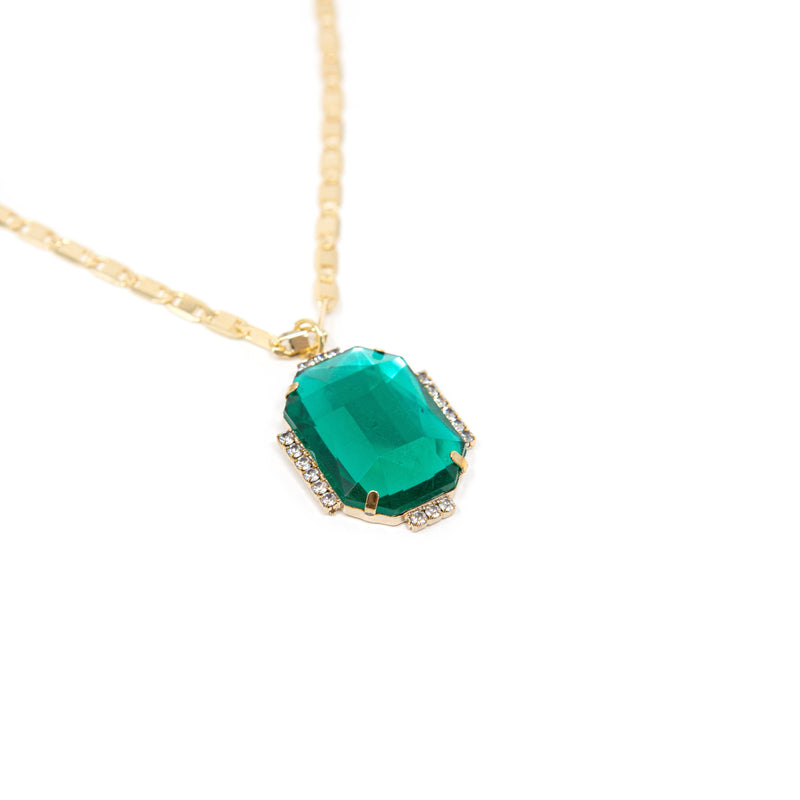 Bright Gem Round Pendant Necklaces JEWELRY The Sis Kiss Emerald Rectangle