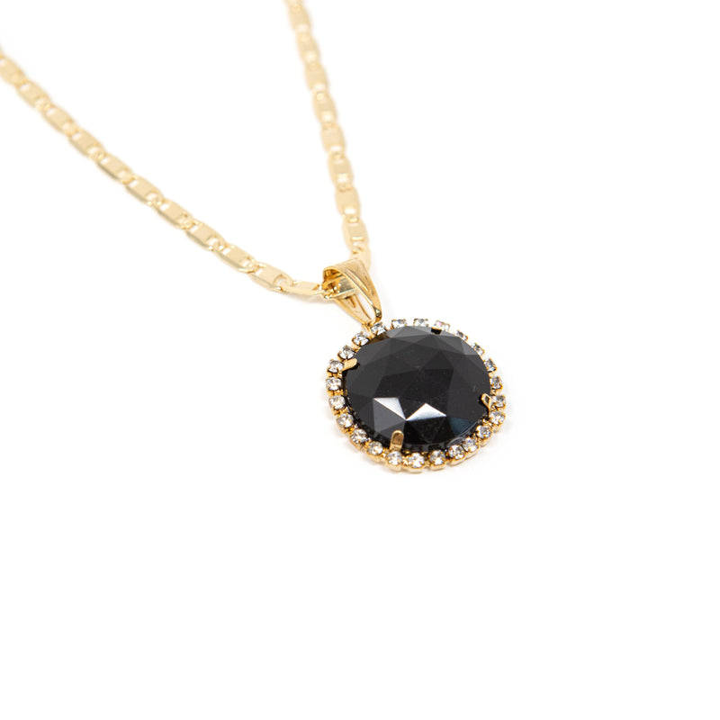 Bright Gem Round Pendant Necklaces JEWELRY The Sis Kiss Onyx Round
