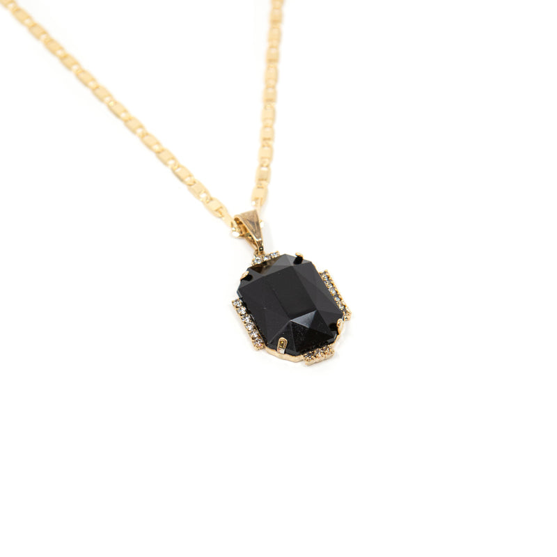 Bright Gem Round Pendant Necklaces JEWELRY The Sis Kiss Onyx Rectangle