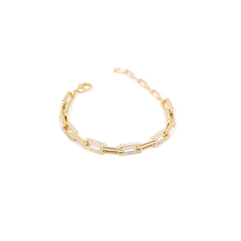 Gold and Crystal Chain Link Bracelet JEWELRY The Sis Kiss