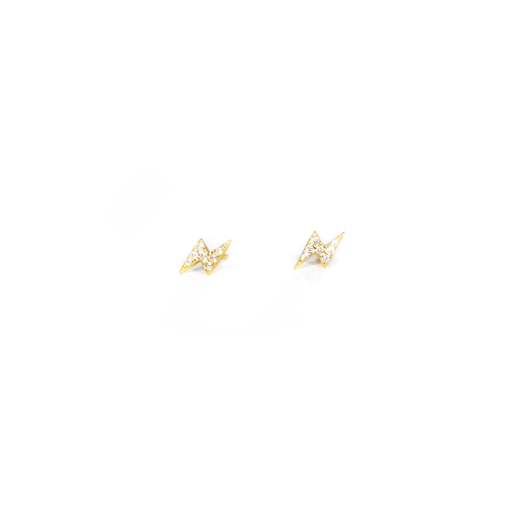 Tiny Crystal Bolt Stud Earrings JEWELRY The Sis Kiss