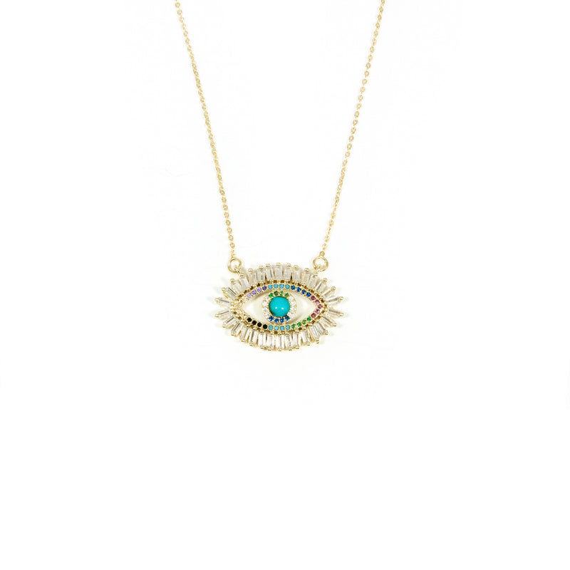 Baguette Crystal and Rainbow Evil Eye Pendant JEWELRY The Sis Kiss