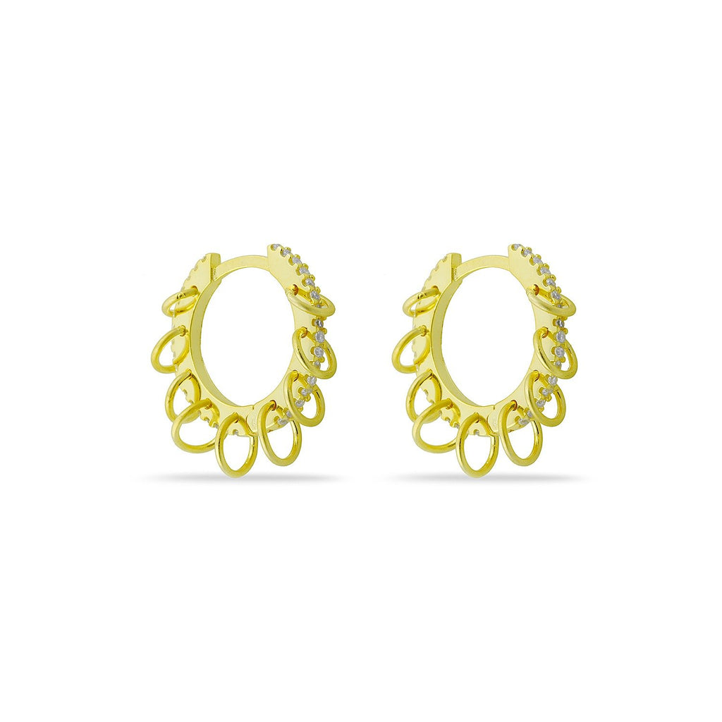 Crystal and Gold Loop Ear Cuff and Earrings