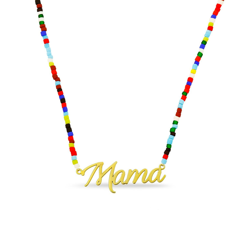 Mama Nameplate with Rainbow Necklace necklace The Sis Kiss