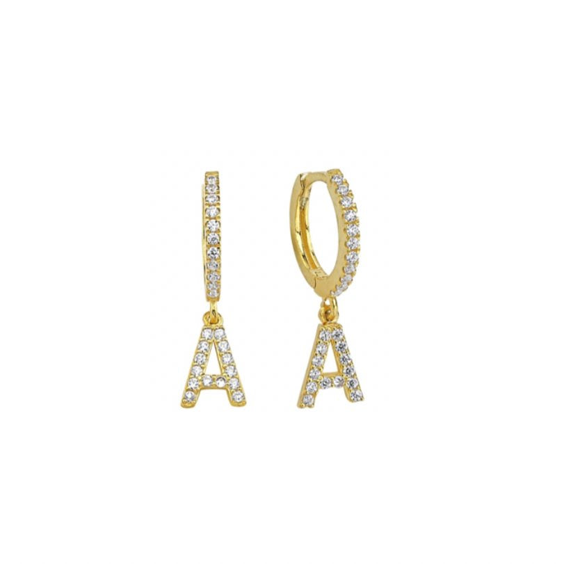 Crystal Initial Huggie Earrings JEWELRY The Sis Kiss