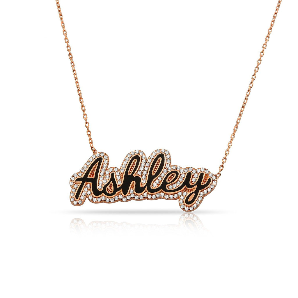 Custom Hollywood Nameplate in Pasadena Script JEWELRY The Sis Kiss