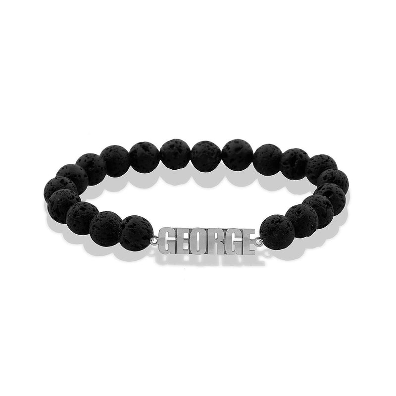 Custom Men's Lava Rock Nameplate Bracelet