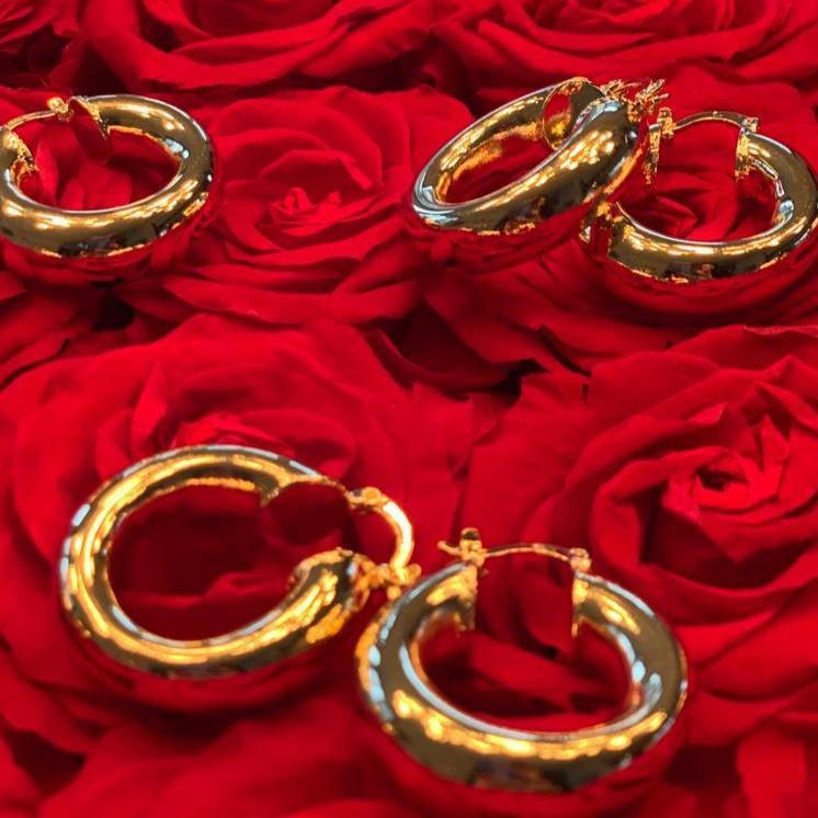 Bold in Gold Hoop Earrings JEWELRY The Sis Kiss Medium