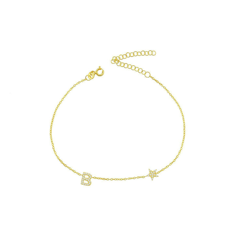 Initial and Star Anklet JEWELRY The Sis Kiss
