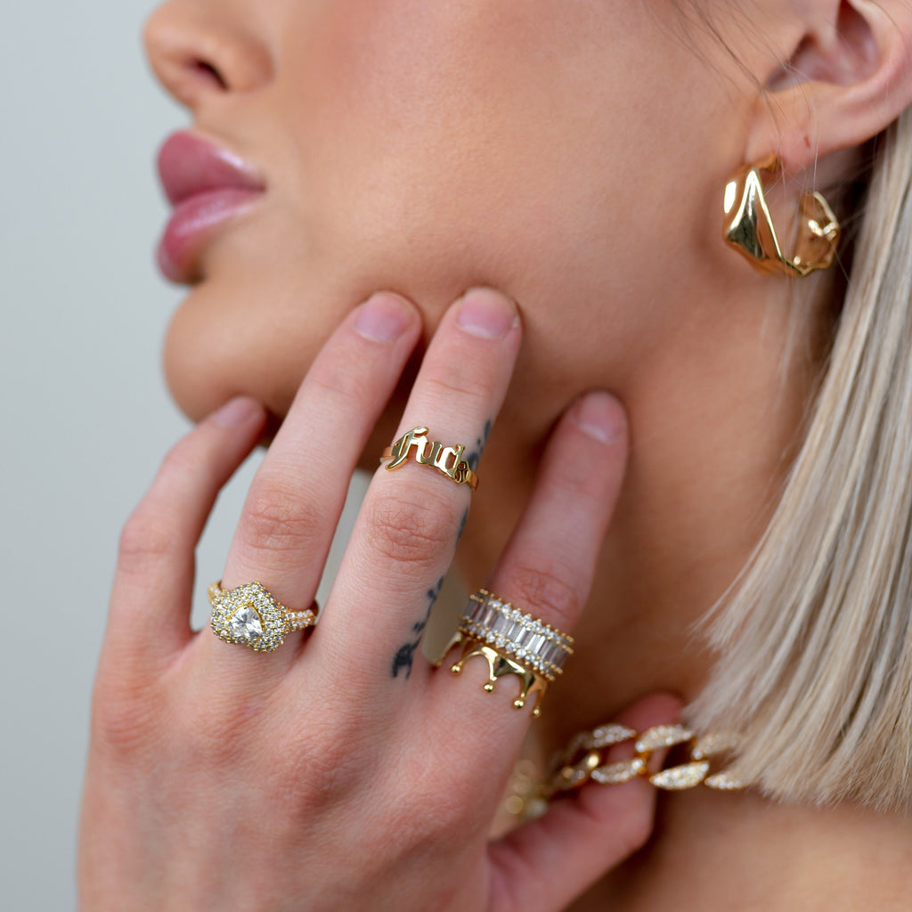 Gold Crown Adjustable Ring JEWELRY The Sis Kiss