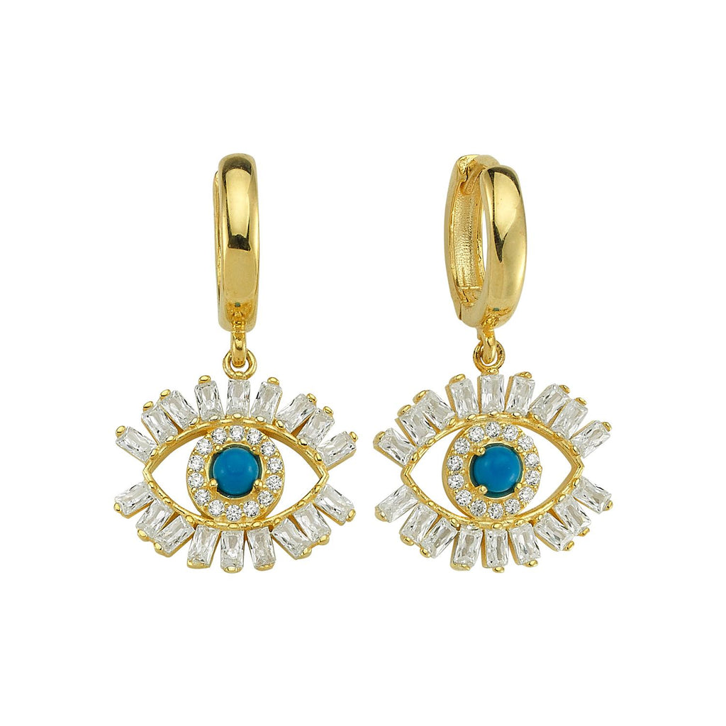Evil Eye Crystal and Turquoise Mini Drop Earrings JEWELRY The Sis Kiss