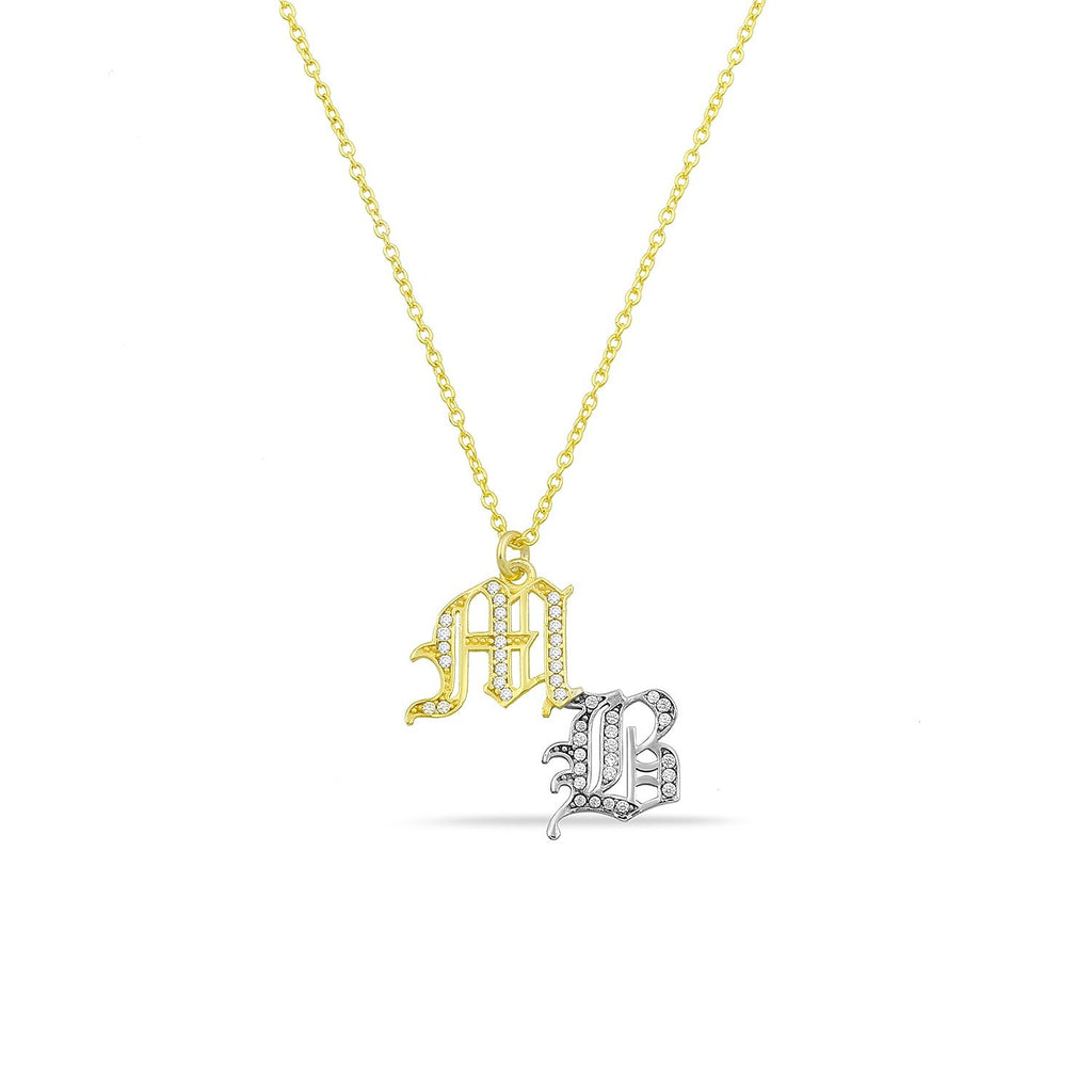 Custom Pave Crystal Old English Initial Necklace JEWELRY The Sis Kiss