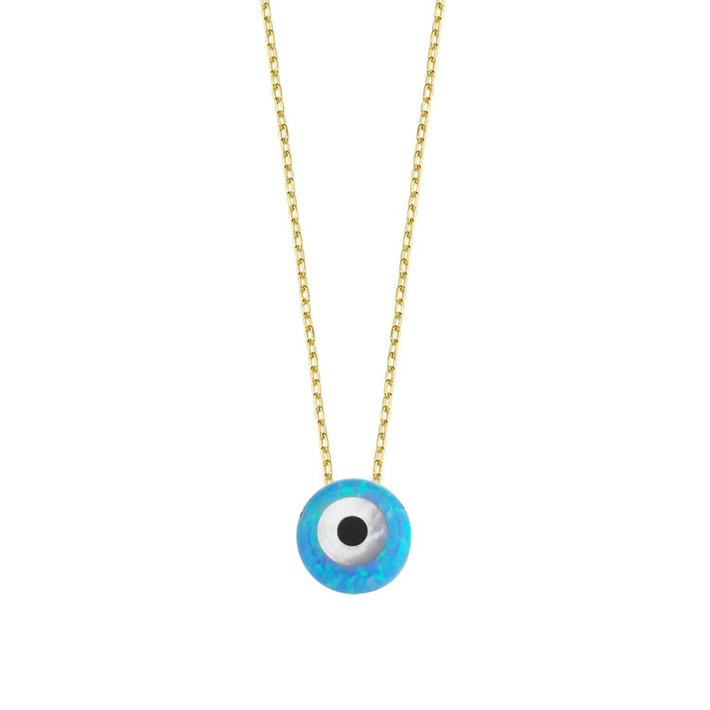 Iridescent Blue Evil Eye on Gold Chain necklace The Sis Kiss
