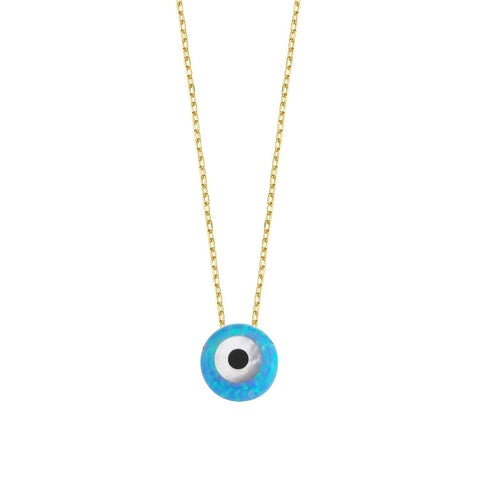 Iridescent Blue Evil Eye on Gold Chain